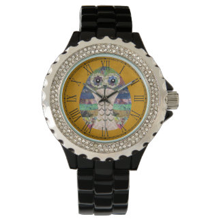 Retro Colorful Owl Boho Bohemian Bird Custom Watch