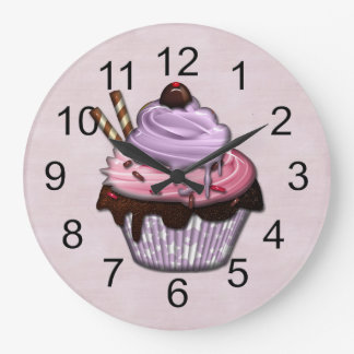 Retro Colorful Party Cupcakes Large Clock