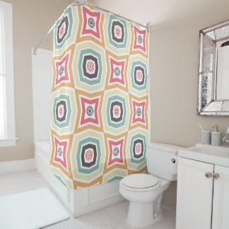 Retro Colorful Pattern Shower Curtain