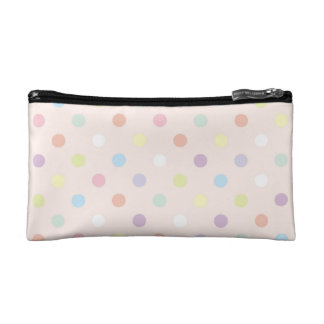 Retro colorful polka dots baby pink background bag cosmetics bags