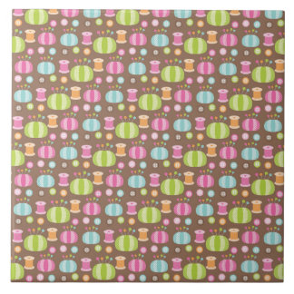 Retro Colorful Sewing Pattern Tile