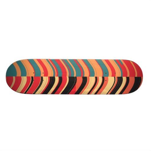Retro Colorful Stripes Decorative Art Skate Board Deck