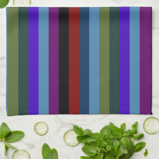 Retro Colorful Stripes Pattern #6 Tea Towel