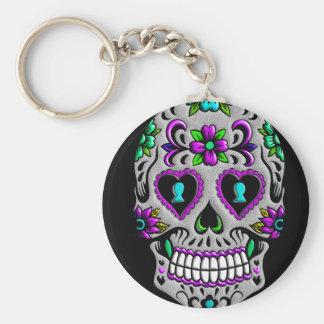 Retro Colorful Sugar Skull Basic Round Button Key Ring