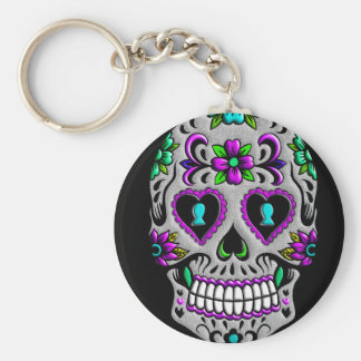 Retro Colorful Sugar Skull Key Ring