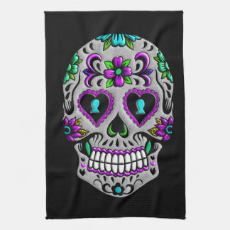 Retro Colorful Sugar Skull Tea Towel