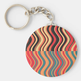 Retro Colorful Waves Abstract Art Basic Round Button Key Ring