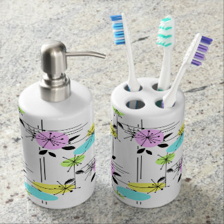 Retro . colorful , white , pink , black , retro , soap dispenser and toothbrush holder