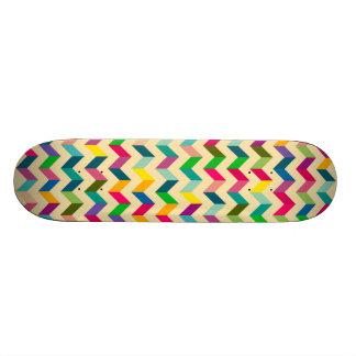 Retro colorful zig zag pattern design skateboards