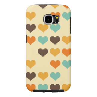 Retro Colors Hearts Pattern Samsung Galaxy S6 Cases