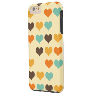Retro Colors Hearts Pattern Tough iPhone 6 Plus Case