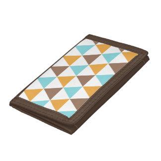 Retro Colour Triangle Pattern Trifold Wallets