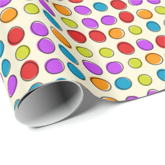 Retro Coloured Dots Gift Wrapping Paper by Julie