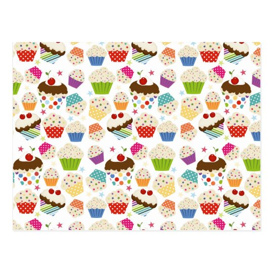 Retro Colourful Cupcake Pattern Postcard
