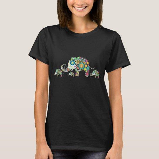 Retro Colourful Flower Elephant Family T-Shirt