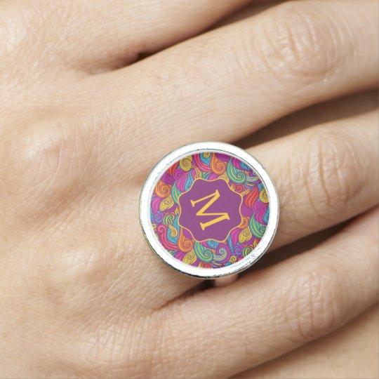 Retro Colourful Jewel Tone Swirly Wave Pattern Ring