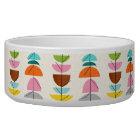 Retro Colourful Nests Ceramic Dog Bowl