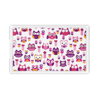 retro colourful owl bird pattern acrylic tray