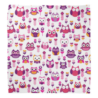 retro colourful owl bird pattern bandana