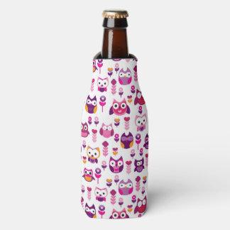 retro colourful owl bird pattern bottle cooler