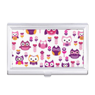 retro colourful owl bird pattern business card holder