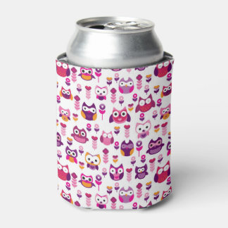retro colourful owl bird pattern can cooler