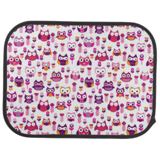 retro colourful owl bird pattern car mat