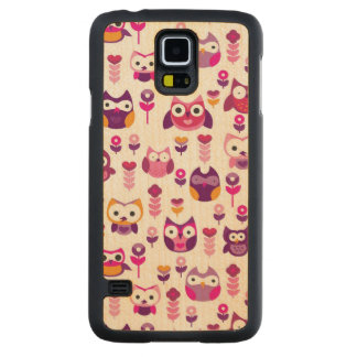retro colourful owl bird pattern carved maple galaxy s5 case