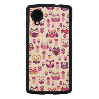 retro colourful owl bird pattern carved® maple nexus 5 slim case