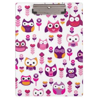 retro colourful owl bird pattern clipboard