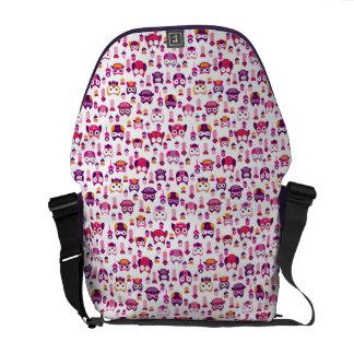 retro colourful owl bird pattern commuter bags