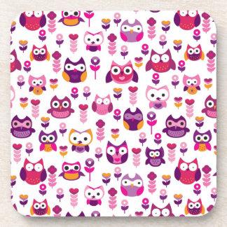 retro colourful owl bird pattern beverage coaster