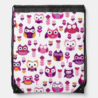 retro colourful owl bird pattern drawstring bag