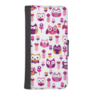 retro colourful owl bird pattern iPhone SE/5/5s wallet case