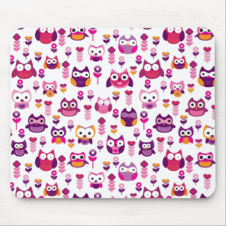 retro colourful owl bird pattern mouse pad