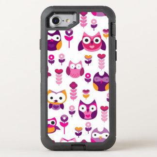 retro colourful owl bird pattern OtterBox defender iPhone 7 case