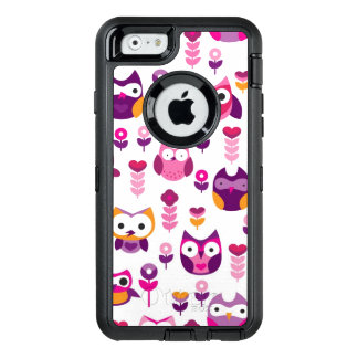 retro colourful owl bird pattern OtterBox defender iPhone case
