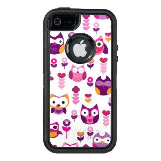 retro colourful owl bird pattern OtterBox defender iPhone case