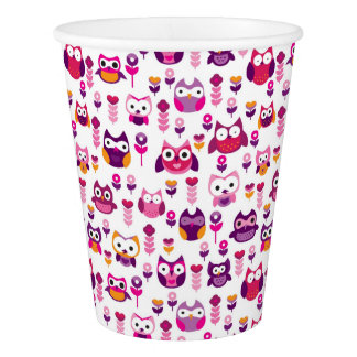 retro colourful owl bird pattern paper cup