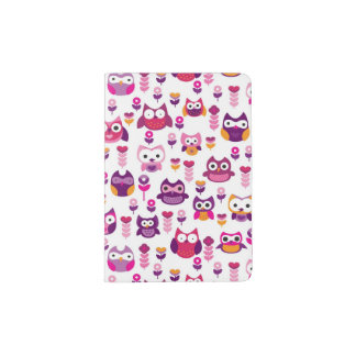 retro colourful owl bird pattern passport holder