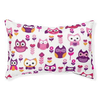 retro colourful owl bird pattern pet bed