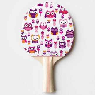 retro colourful owl bird pattern ping pong paddle
