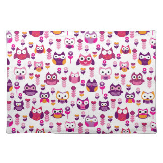 retro colourful owl bird pattern placemat