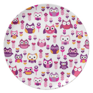 retro colourful owl bird pattern party plate