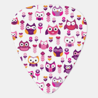 retro colourful owl bird pattern plectrum