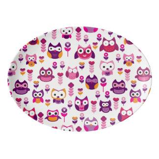 retro colourful owl bird pattern porcelain serving platter