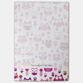 retro colourful owl bird pattern post-it® notes