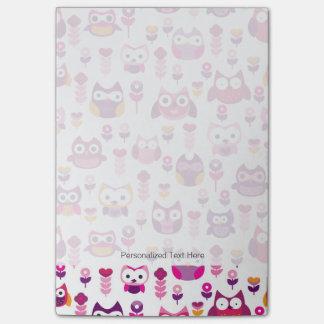 retro colourful owl bird pattern post-it® notes
