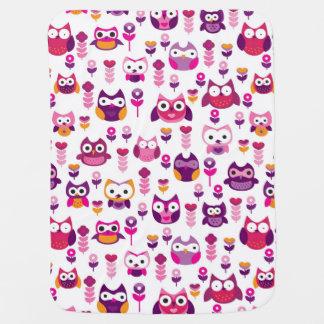 retro colourful owl bird pattern pramblankets