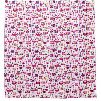 retro colourful owl bird pattern shower curtain